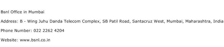 Bsnl Office in Mumbai Address Contact Number