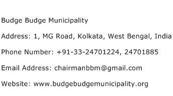 Budge Budge Municipality Address Contact Number