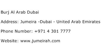 Burj Al Arab Dubai Address Contact Number
