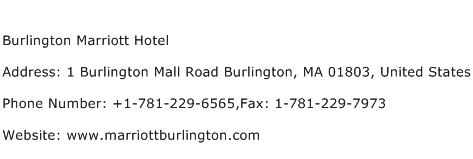 Burlington Marriott Hotel Address Contact Number