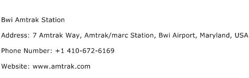 Bwi Amtrak Station Address Contact Number