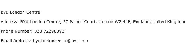 Byu London Centre Address Contact Number