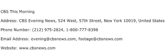 CBS This Morning Address Contact Number