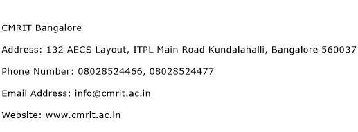 CMRIT Bangalore Address Contact Number