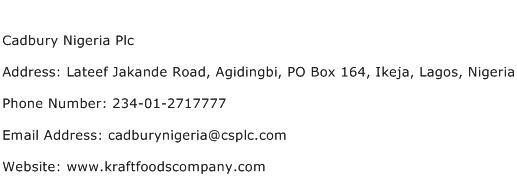 Cadbury Nigeria Plc Address Contact Number