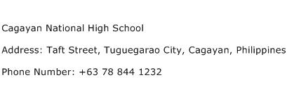 Cagayan National High School Address Contact Number