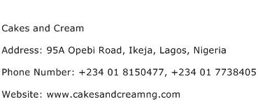 Cakes and Cream Address Contact Number