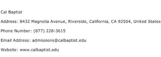 Cal Baptist Address Contact Number