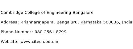 Cambridge College of Engineering Bangalore Address Contact Number