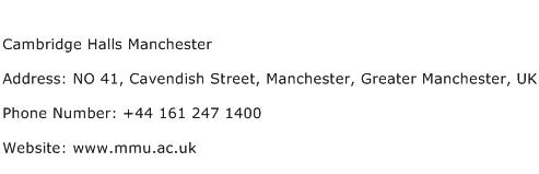 Cambridge Halls Manchester Address Contact Number