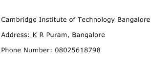 Cambridge Institute of Technology Bangalore Address Contact Number