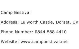 Camp Bestival Address Contact Number