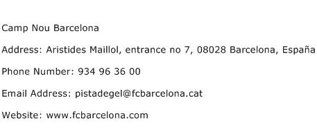 Camp Nou Barcelona Address Contact Number