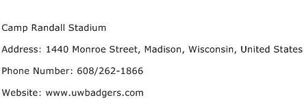 Camp Randall Stadium Address Contact Number