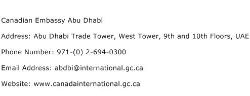 Canadian Embassy Abu Dhabi Address Contact Number