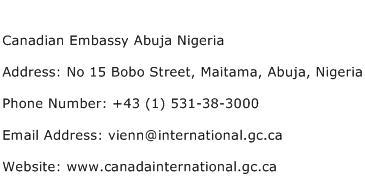 Canadian Embassy Abuja Nigeria Address Contact Number