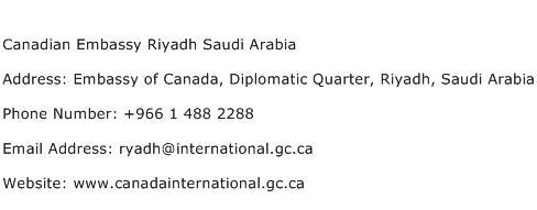 Canadian Embassy Riyadh Saudi Arabia Address Contact Number