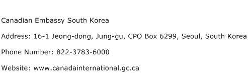 Canadian Embassy South Korea Address Contact Number