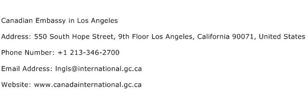 Canadian Embassy in Los Angeles Address Contact Number