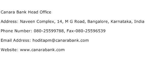 Canara Bank Head Office Address Contact Number