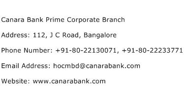 Canara Bank Prime Corporate Branch Address Contact Number