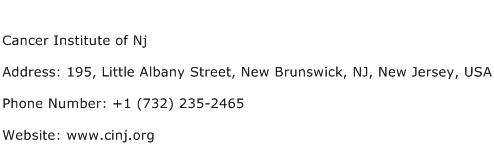 Cancer Institute of Nj Address Contact Number