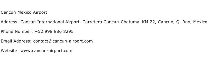 Cancun Mexico Airport Address Contact Number