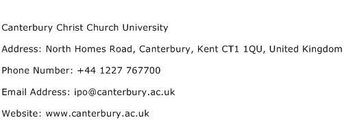 Canterbury Christ Church University Address Contact Number