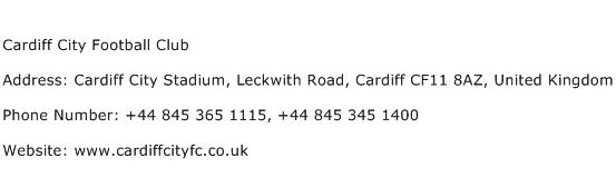 Cardiff City Football Club Address Contact Number