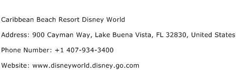 Caribbean Beach Resort Disney World Address Contact Number