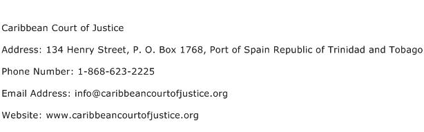 Caribbean Court of Justice Address Contact Number