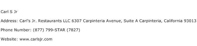 Carl S Jr Address Contact Number