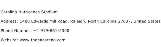 Carolina Hurricanes Stadium Address Contact Number