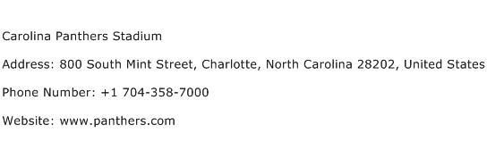 Carolina Panthers Stadium Address Contact Number