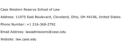 Case Western Reserve School of Law Address Contact Number