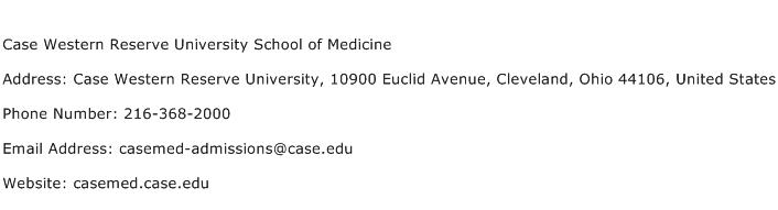Case Western Reserve University School of Medicine Address Contact Number