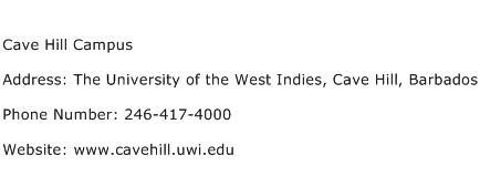 Cave Hill Campus Address Contact Number