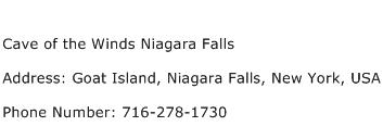 Cave of the Winds Niagara Falls Address Contact Number