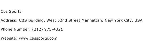 Cbs Sports Address Contact Number