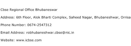 Cbse Regional Office Bhubaneswar Address Contact Number