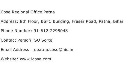 Cbse Regional Office Patna Address Contact Number