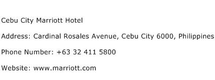 Cebu City Marriott Hotel Address Contact Number