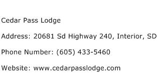 Cedar Pass Lodge Address Contact Number