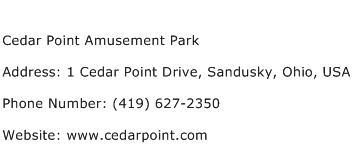 Cedar Point Amusement Park Address Contact Number