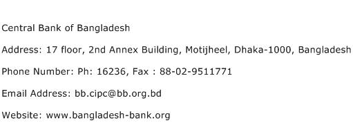 Central Bank of Bangladesh Address Contact Number
