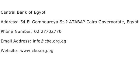 Central Bank of Egypt Address Contact Number