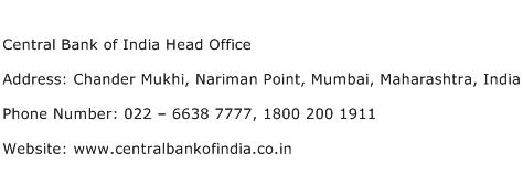 Central Bank of India Head Office Address Contact Number
