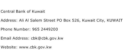 Central Bank of Kuwait Address Contact Number