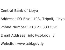 Central Bank of Libya Address Contact Number
