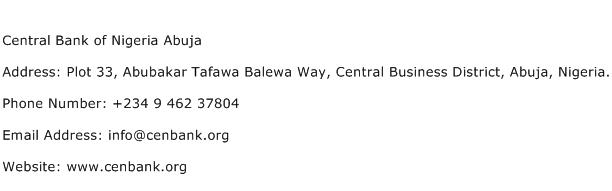 Central Bank of Nigeria Abuja Address Contact Number
